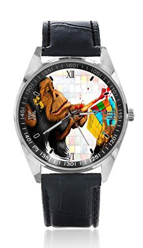 Monkey Painting Herren Ledergürtel Uhr Einfache Klassische Stil Sportuhr für Herren Schlichtes Design und Mode