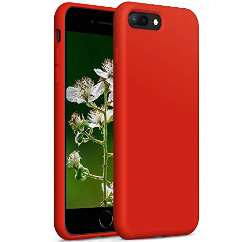 YATWIN Compatibile con Cover iPhone 8 Plus 5,5'', Compatibile con Cover iPhone 7 Plus Silicone Liquido, Protezione Completa del Corpo con Fodera in Microfibra, Rosso