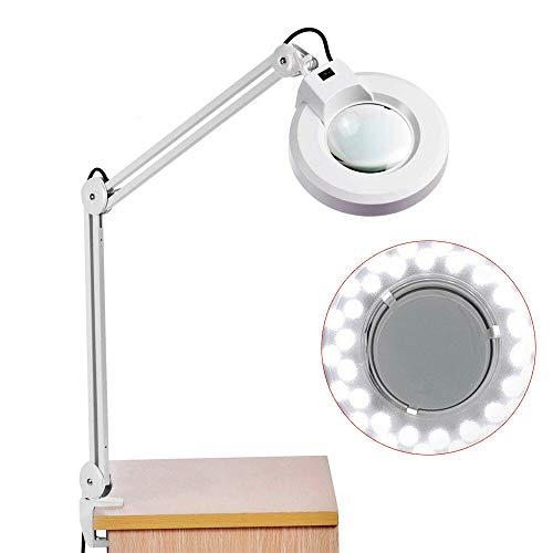 Gelenkarm Lupenleuchte 5 Fache Vergrößerung YUNRUX LED Lupenleuchte mit Tischklemme 235mm Linse 5 Dioptrien Lupenlampe mit Beleuchtung kaltes Licht