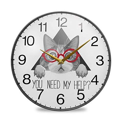 OneDay-Shop Lindo Gato con Gafas, Reloj de Pared de acrílico Redondo, silencioso, sin tictac, Pintura al óleo, hogar, Oficina, Escuela, Decorativo, Reloj de 9,84 Pulgadas, Arte