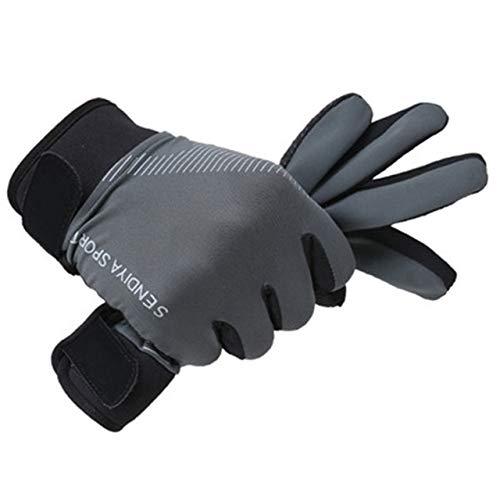 MYSdd Fahrradhandschuhe Vollfinger-Touchscreen Männer und Frauen Mountainbike-Handschuhe atmungsaktive Sommerhandschuhe - Grau XL X XL