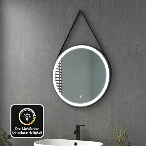 welmax Badspiegel mit Beleuchtung LED Badezimmerspiegel Rund Wandspiegel Dimmbar Lichtspiegel Wasserdicht IP44, Energieklass A++ (60CM Touchschalter + 3 Lichtfarbe, Runder | Stil 4)