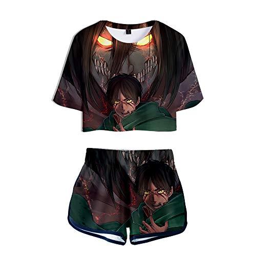 HBDjunn Attack On Titan Camiseta de Manga Corta de 2 Piezas,3D Mujeres Sexy Verano Manga Corta Dos Piezas Conjunto Camisetas + Pantalones Cortos