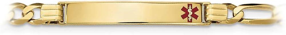 14k Yellow Gold Medical Red Enamel Flat Figaro Link ID Bracelet