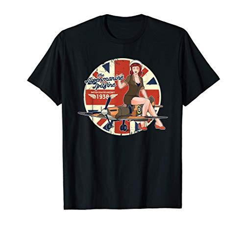 Supermarine Spitfire RAF WWII Flugzeug Pinup T-Shirt