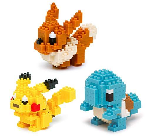 Nanoblocks - 3 Sets - Pikachu, Squirtle and Eevee - Adjustable Pokemon Characters (Japan Import)