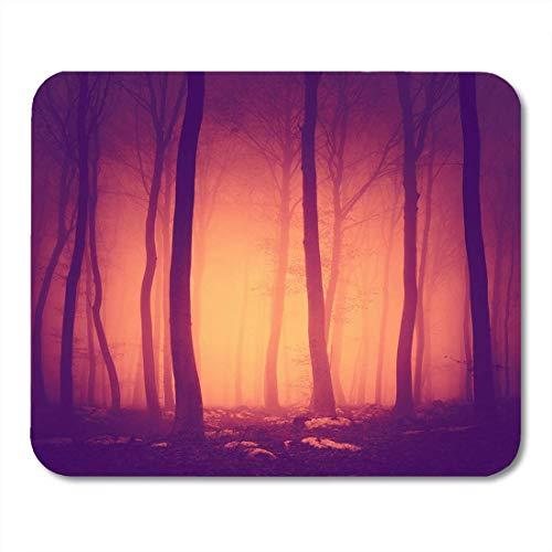 Mauspads Rosa Halloween gruselig lila rot Vintage Farbe Waldszene mit gelb orange Licht in grün Forrest Mauspad für Notebooks, Desktop-Computer Büromaterial