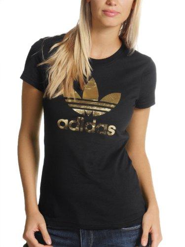 adidas Adi tee Trefoil - Camiseta de Tiempo Libre y Sportwear para Mujer, Talla 38, Color Negro/Dorado