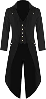 Zolimx Herren Langarm-Mantel Frack Jacke Gothic Gehrock Normallack Mode Steampunk Retro-Smoking Männer Uniform Kostüm Party Oberbekleidung Plus Size