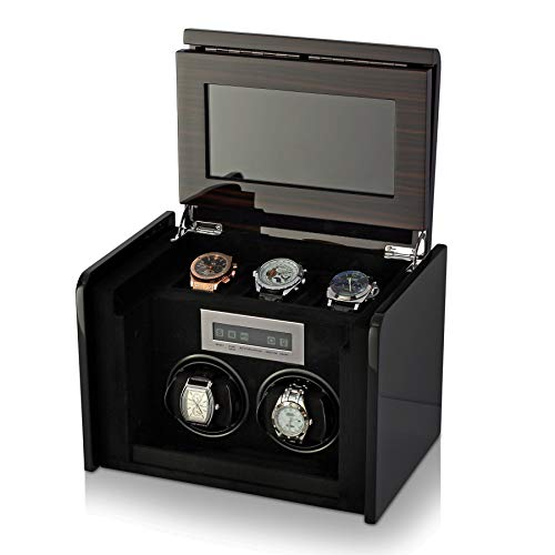 2+3 Watch Winder Box for Self-Winding up to 2 Automatic Watches with LED Case Backlight, LCD Touchscreen Display and 3 Watches Storage Compartment for All Watch Brands and All Watch Sizes (Macassar)