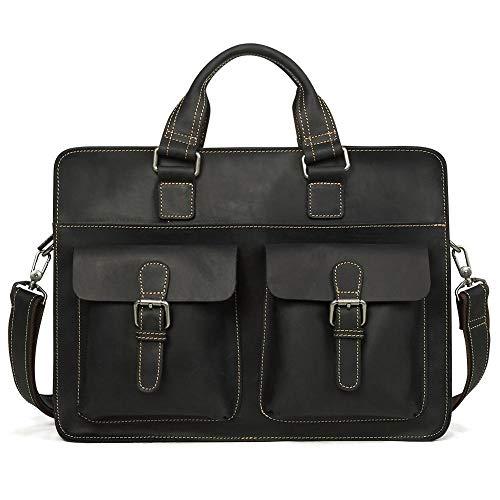 Yi-xir Ladies' favorite bag Vintage Men's Cow Real Leather Briefcase Leather Messenger Bag Male Laptop Bag Men Business Travel Bag Diagonal bag backpack (Color : Black, Size : 41 * 30 * 10cm)