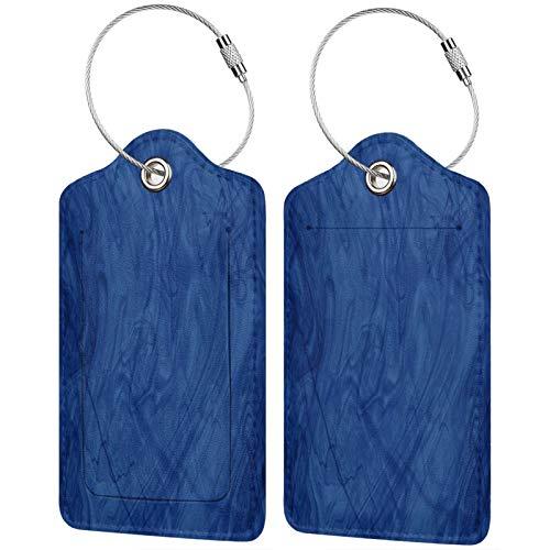 FULIYA Etiquetas para equipaje de viaje, etiquetas de identificación para tarjetas de visita, juego de 2, textura, granito, humo, líquido, azul