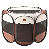 Home Intuition Portable Foldable Indoor Outdoor Pet Playpen Exercise...