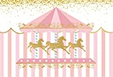 YEELE 8x6ft Carousel Backdrop Amusement Park Theme Girls Birthday Party Photography Background Pink Baby Shower Little Princess First 1st Birthday Room Decoration Photoshoot Props Digital Wallpaper