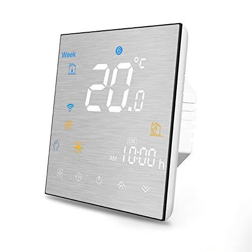 Termostato WiFi per Caldaia a Gas/Acqua,Termostato intelligente Schermo LCD(Pannello spazzolato) Touch Button Retroilluminato Programmabile con Alexa ecc e Telefono APP-Nero