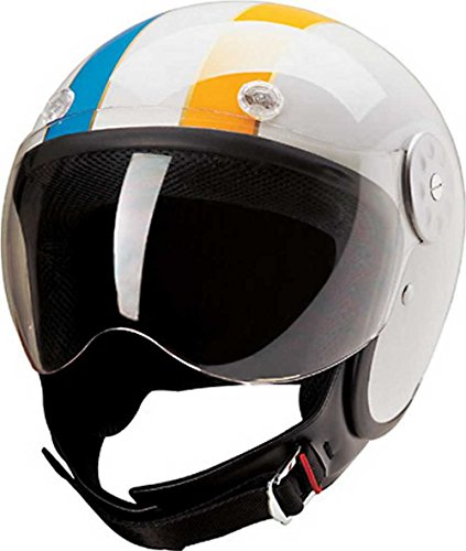 HCI Open Face Motorcycle Helmet - White w/Blue and Yellow Stripes 15-640 (Lg)