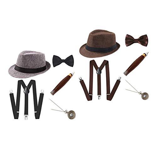 SM SunniMix 2 Juegos de Disfraces de Charleston Disfraz de Carnaval de Los años 20 Disfraz de Hombre con Sombrero Fedora - Gris + Café
