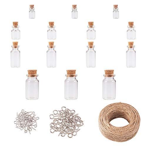 40 botellas de cristal de corcho para desear frascos de cristal transparente con mensaje de botella de cristal con tornillos de cuerda y ojo para manualidades, decoración del hogar, regalo de cumpleaños, recuerdos de fiesta