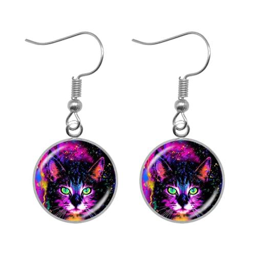 Nuevo arco iris colorido pintado tabby gato pendientes para niñas mujeres cristal cabujón...