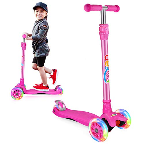 Beleev Kick Scooter for Kids, 3 Wheel Scooter for Toddlers Girls Boys, Adjustable Height, Light up Wheels for Children (Hot Pink)