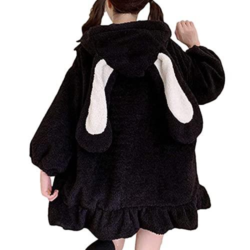 Sudadera con capucha de conejo de felpa para mujer, forro polar reversible con cordón cremallera linterna manga chaqueta abrigo Wancooy, Negro, XL