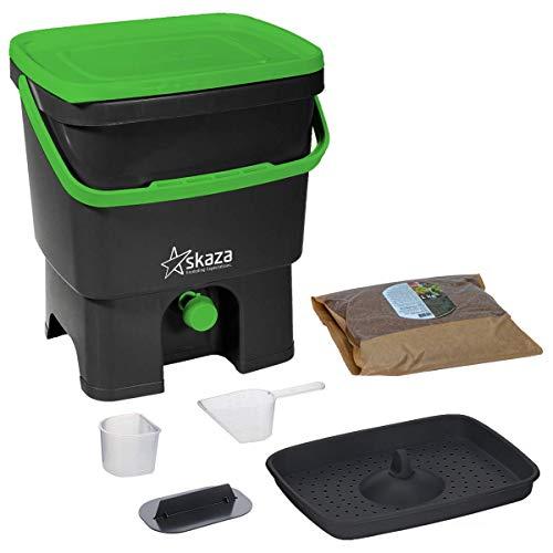 Skaza Bokashi Organko Set (16 litri) – Pattumiera biologica per cucina e giardino, in plastica riciclata (nero/verde) + 1 kg di attivatore per fermentazione Bokashi EM