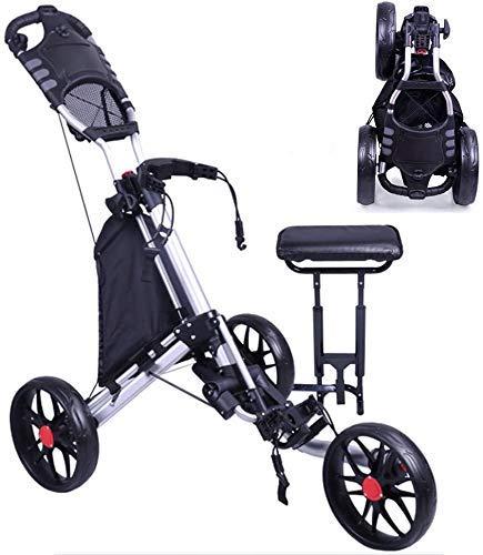WUAZ Carro De Golf De La Carretilla, 3 Empuje La Rueda/Tirar del Carro De Golf del Marco Plegable De Aluminio De Aleación De Golf Push Cart con Asiento
