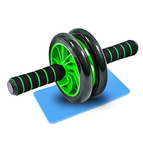 Good Times Bauchtrainer AB Roller Bauchmuskeltrainer mit Knieauflage, AB Wheel mit Kniematte für Fitness, Bauchroller, Bauchmuskeltraining Muskelaufbau, Muskeltrainer (Grün, 16cm Räder)