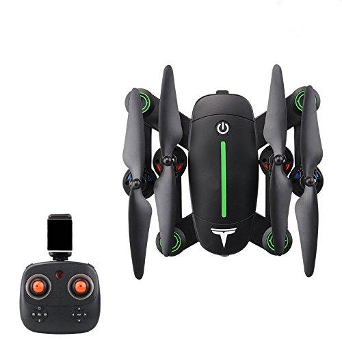 Plegable RCDrone WiFi FPV Quadcopter con Cámara De 300W HD con Altitude Hold Y Modo Sin Cabeza 2.4GHz 6-Axis Gyro Pocket Quadcopter con Giro De 360º con Un Botón Helicopter,BlackGreen-1Battery