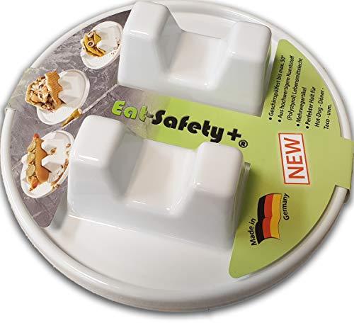 Eat-Safety + Teller für Hotdog - Döner - Taco - Pulled Pork Brötchen - Hochwertiger Kunststoff - 2 Stück im Doppelpack