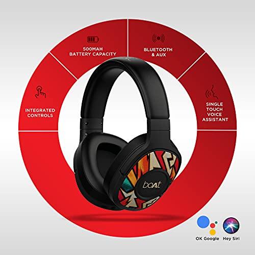 boAt Rockerz 550 Over-Ear Wireless Headphone with Ergonomic Aesthetics, Plush Padded Earcups, Immersive Audio, Bluetooth v5.0 & Upto 20H Playback(Black Symphony)