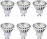 Xpeoo® Lot de 6 LED 6W Dimmable GU10 Blanc froid Neutre Naturel Equivalente à une Halogène de 50W, Spot Light Ampoule Variateur de Lumière Lampe lumière Ampoules Bulb d'ampoule 520 lm Cool White, 4500-5000k AC 220v
