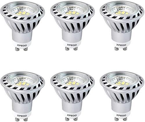 Xpeoo® 6er-Pack Dimmbar 6w GU10 Led Lampen Kaltweiss Ersetzt 50w Halogen, 40 Abstrahlwinkel Kaltweiß Rampenlicht, Tageslicht Einbaustrahler Birne Licht Spot Leuchte Smd Leuchtmittel 220V