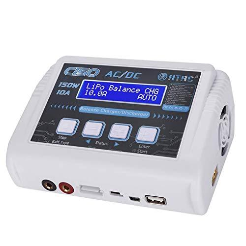 teng hong hui HTRC C150 150W Lipo Cargador de batería Cargador de batería lipo 10A Cargador del Balance de polímero de Litio de la batería Recargable del Coche de RC, Enchufe de la UE, Blanca