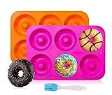 Kaishuai-Silikon Donut Formen,Silikon Donut Backform,Runde-Donut-Formen/ Backform Antihaft Donut Backblech für Kuchen Keks Bagels Muffins,Geeignet für Geschirrspüler,Backofen,Mikrowelle,Kühlschrank
