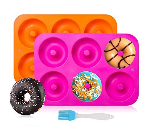 Kaishuai Molde para Donut de Silicona,moldes silicona reposteria,2 unidades Molde de Silicona para Hornear Donut,Antiadherente Molde de Silicona Apto para Lavavajillas,Congelador,Horno,Microon