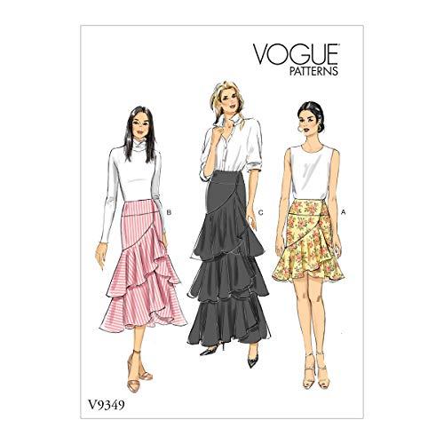 Vogue Schnittmuster Easy Damen Wickelrock gefüttert Gr. 34-42 weiß V9349A5