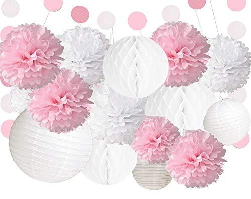 Anokay Hochzeitsdeko Set - 12 Seidenpapier PomPoms Laternen Wabenbälle rund weiß rosa - Pom Pom für Hochzeit Deko Tischdeko Geburtstagsdeko Mädchen Party Dekoration (12er Set)