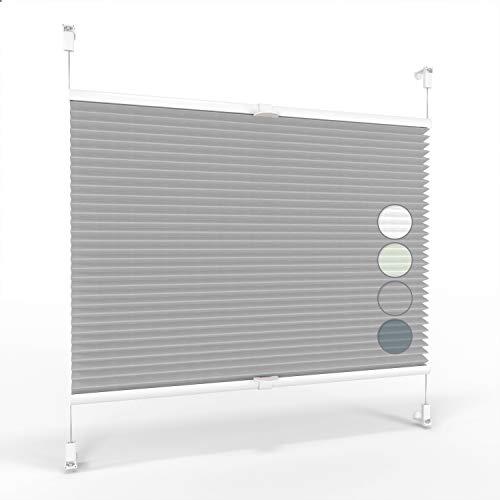 ALOHA Plissee ohne Bohren Klemmfix Faltrollo Plisseerollo Blickdicht Sonnenschutz Jalousie für Fenster & Tür (Grau / 80x130cm / Breite x Höhe)