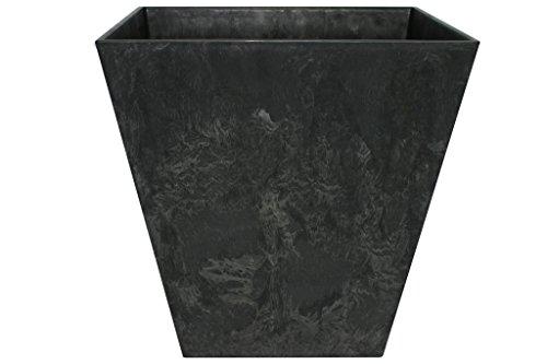 Artstone Pflanzgefäß Pflanzkübel Ella, frostbeständig und leichtgewichtig, Schwarz, 40x40cm