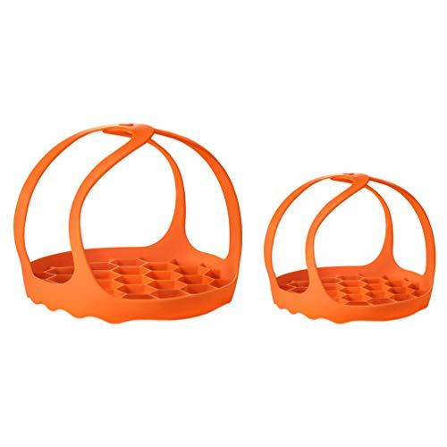 Yardwe 2pcs Silicone Steamer Basket Vegetable Food Egg Steamer Adjustable Collapsible Strainer Colander Basket for Instant Pot Stove Top Pot Orange