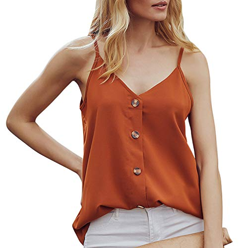 LAEMILIA Débardeur Femme Mousseline en Soie Top Ete Col V Sexy Bouton Tee Shirt Casual Camisole Haut Chic Classique Tops Gilet (FR38, Orange)