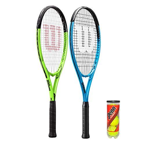 2 x Wilson XL Tennis Rackets Blue Green 3 Tennis Balls