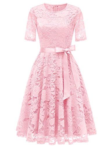 DRESSTELLS Elegant Damen Hochzeit Cocktail Spitzenkleid Rundhalsausschnitt Kurzarm Abendkleid Pink S
