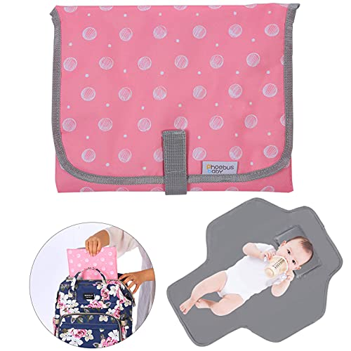Portable Changing Pad for Baby, Compact Waterproof Diaper Mat with Built-in Cushion - Gifts for Baby Shower, Pink