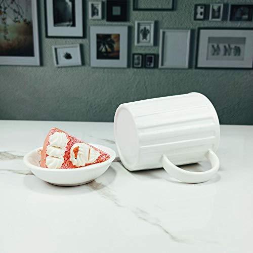 Darcyk Kaffeetasse Keramik Weiß Glasierte Streifen Tasse Büropersonal Hotel Gästehaus Gästezimmer Tasse-401-500Ml