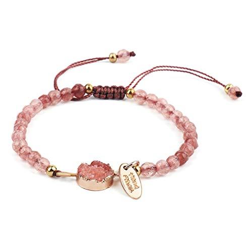 lijun Frauen Harz Druzy Stein Perlen Armband stapelbar handgeschnittenen Kristall Stretch Armreif