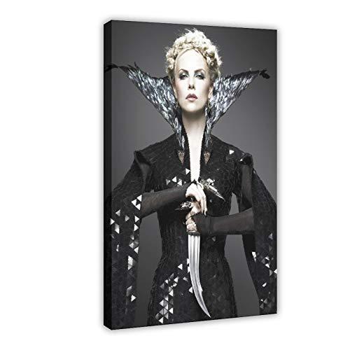 Póster de Charlize Theron de película Blanca Nieve, Reina del mal de la Reina en Lienzo para decoración de la pared de la sala de estar, dormitorio, 60 x 90 cm, Marco1