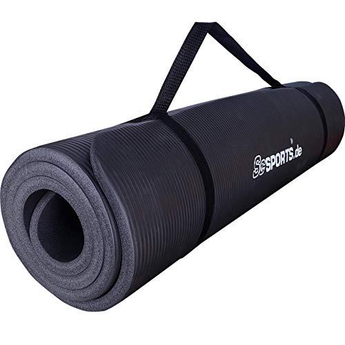 ScSPORTS® Gymnastikmatte dick & rutschfest, Yoga-Matte mit Schultergurt, 190 cm x 80 cm x 1,5 cm, universeller Einsatz im Fitnessstudio oder zu Hause (schwarz)