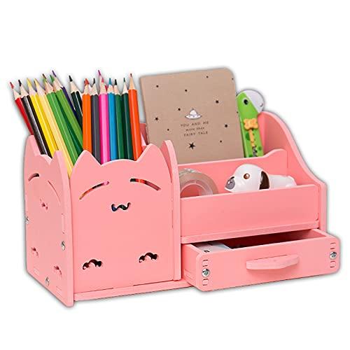Multi-funzione Portapenne, Penna creativa organizzatore studente carino cancelleria titolare scrivania organizzatore ufficio penna matita coppa-gatto rosa 22x11x12cm(9x4x5inch)
